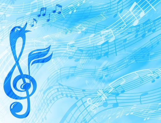 A cheerful abstract background on a musical theme in blue tones with a treble clef in the form of a singing bird. Illustration.