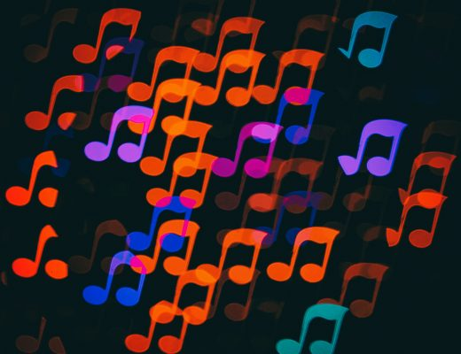 Colorful bokeh music note shape lights background. Melody music abstract background.